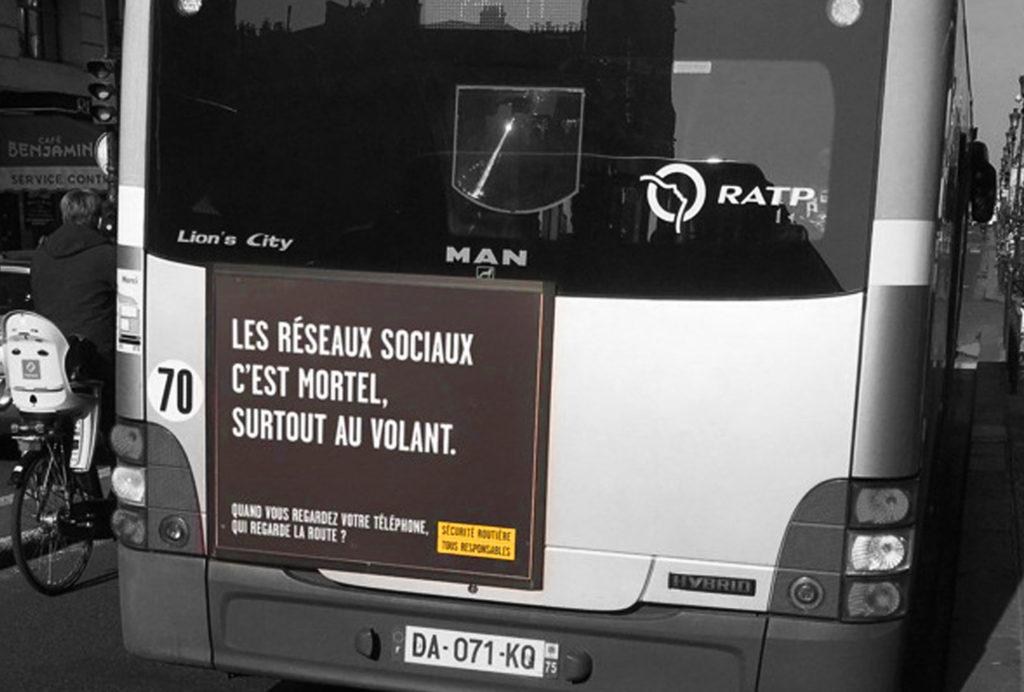Campagne Sécurité Routière sur bus RATP Réseaux Sociaux