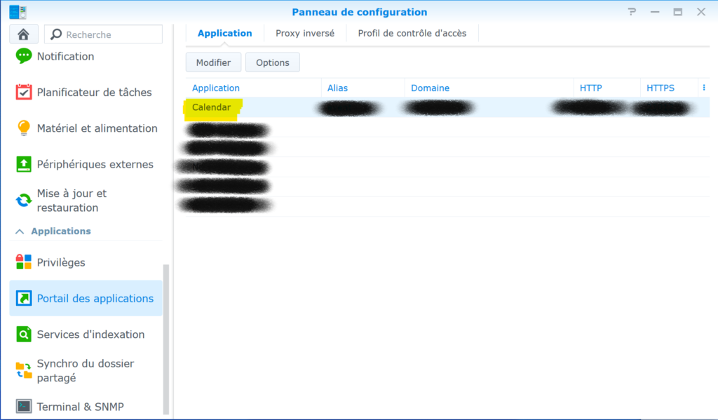 Modifier l'application Calendar via le Portail des Applications Synology