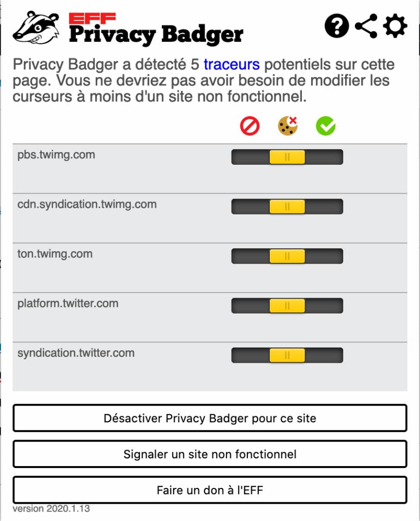 Conseils pour protéger vos données personnelles : Protégez votre navigation internet via l'extension Privacy Badger de l'Electronic Frontier Fondation permet de bloquer les traceurs invisibles