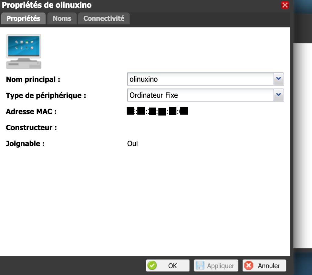 Retrouvez l'adresse mac de votre carte OlinuXino via l'interface d'administration de votre routeur. Ici la freebox revolution.